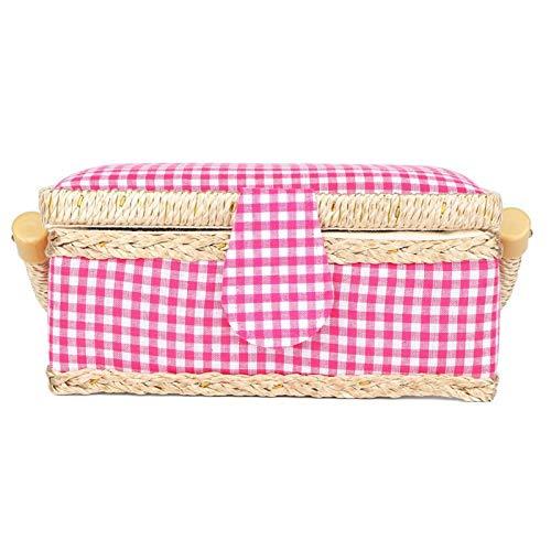 Cesta de costura para el hogar, cómoda y elegante cesta de costura artesanal de tela duradera, para tijeras, agujas, botones, husillos(Rose Red Check)