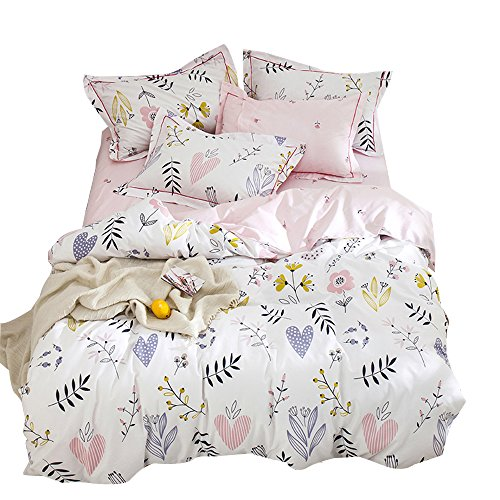 OTOB Soft Cartoon Plant Flower Print Girls Twin Bedding Duvet Cover Sets Cotton 100 Percent for Kids Toddler Teen Women Colorful Floral Reversible Love Teen Bedding Sets Twin Pink