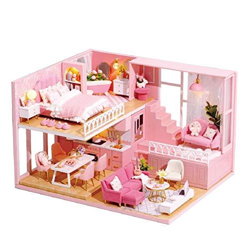 happygirr Casa de muñecas 3D de princesa, desván, casa en miniatura con movimiento musical, casa construida, hecha a mano, casa para niños y padres