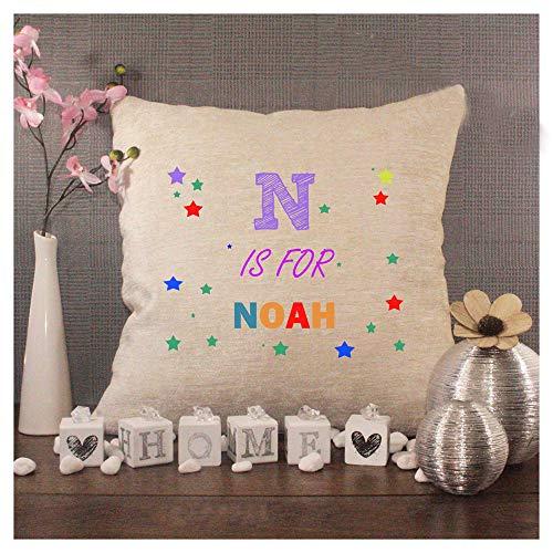 43LenaJon Fundas de almohada de lino de algodón y algodón, con inicial y nombre.