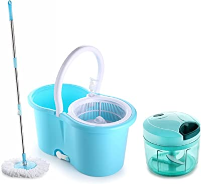 Ganesh Quick Spin Mop with Steel Handle (Blue) and Quick Chopper Vegetable Cutter, Pool Green (725 ml) Combo Set