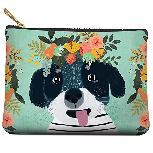 Medium Zippered Pouch by Studio Oh! - Fancy Dog - 7. 5 x 5. 5 - Faux Leather Material with Full-Color Artwork & Cotton Lining - for Makeup, Pens, Chargers & More