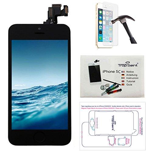 Trop Saint® Écran pour iPhone 5C Noir - LCD Complet - Kit de Réparation Premium avec Notice en 5 Langues, Outils, Tapis de Repérage Magnetique et Verre Trempé.