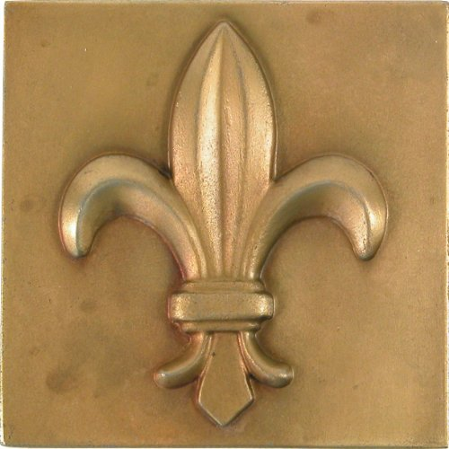 Brass Elegans 27fl-ab Fluer de lis design Solid metal 10,2cm x 10,2cm Accent tile, durevole, finitura in ottone anticato