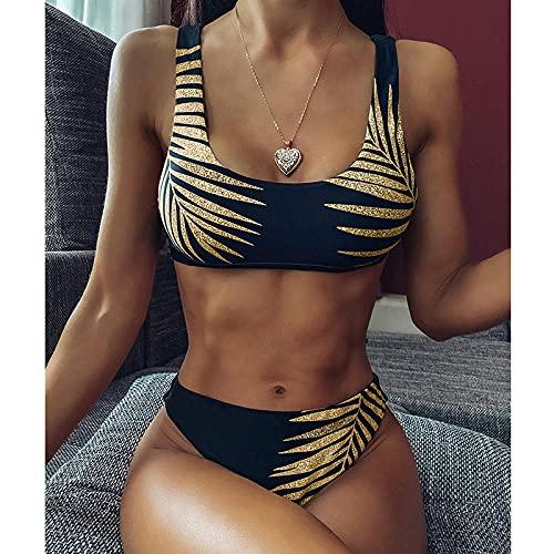 Bikinis Bañador Mujer Nuevo Bikini Sexy con Estampado De Hojas De Color Dorado Traje De Baño para Mujer Traje De Baño Bandeau Push Up Bikini Set Trajes De Baño Ropa De Playa-Black_S
