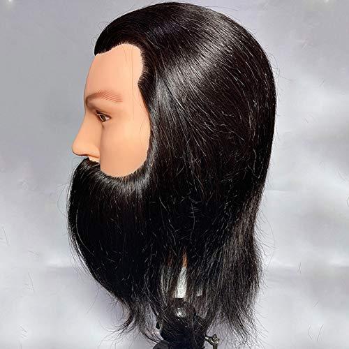 WANGXN Cabeza de maniquí de Entrenamiento para peluquería, Cabeza de práctica de Entrenamiento de maniquí Masculino con Barba Cabeza de muñeca de maniquí para escuelas de cosmetología y peluquería