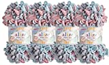 Alize Puffy - Lote de 4 ovillos de lana para manta de bebé, 400 g, 100%...