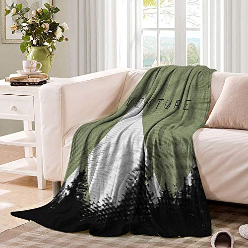 WinfreyDecor Adventure Plush Throw Blanket Forest with Halftone Effect Hipster Typography Camping in Mountains Soft Light Weight Blanket for Bed Couch and Living Room 60'x50' Army Green Black White
