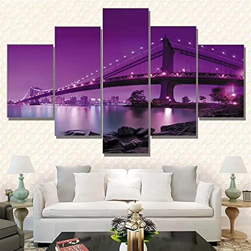 5 Incluso Cuadros Decorativos en Lienzo Lienzo Modular HD impresión Ciudad Noche Pintura Arte Carteles decoración Moderna del hogar Imagen de Sala de Estar