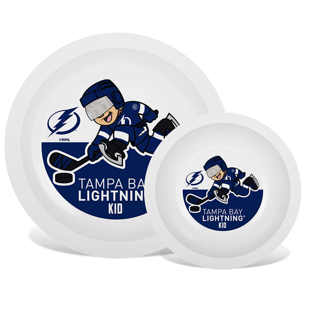 Baby Fanatic Nhl Legacy Infant Plate & Bowl Set, Tampa Bay Lightning, for Ages 6 Months & Up