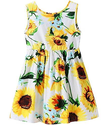 """EULLA Mädchen Kleid Kids Blumen à""""rmellos Sommerkleid Sommer Mädchen Kleidung, 01 Weiß (Sonnenblume), EU 116(5-6Jahre) Tag 130"""