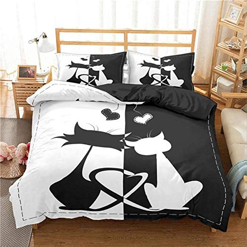 Double Bed Duvet Sets, Bedding Set Home Textile 3D Print Black White Cat Duvet Cover Pillowcase Kids Adult Bedclothes Bed Linen