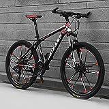 GREAT Bicicleta de montaña, Adultos para Hombre Mountain Bike 26'Marco De Acero De Carbono De Acero De Carbono 21/24/27 Velocidad Completo Bicicleta Dual Dual Disco Freno MTB(Size:27 Speed,Color:Red)