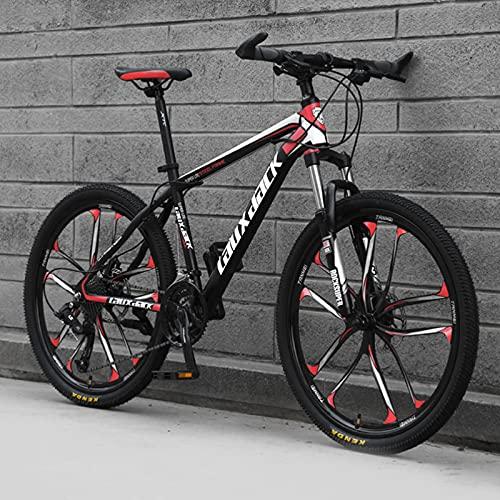 """GREAT Bicicleta de montaña, Adultos para Hombre Mountain Bike 26""""Marco De Acero De Carbono De Acero De Carbono 21/24/27 Velocidad Completo Bicicleta Dual Dual Disco Freno MTB(Size:27 Speed,Color:Red)"""