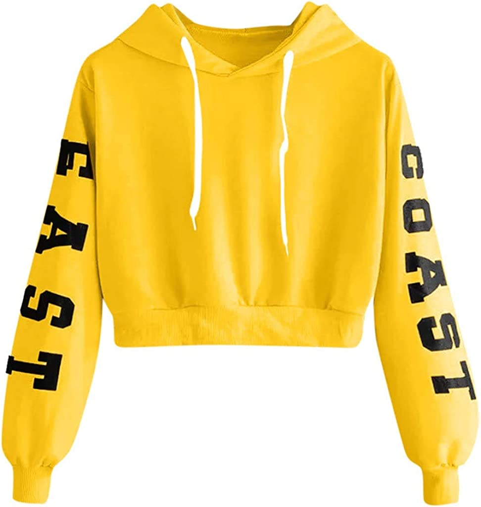 Girls' Hoodie, Misaky Spring Autumn Casual Letter Print Long Sleeve Hooded Short Pullover Sweatshirt Blouse Tops