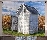 ABAKUHAUS Toilettenhäuschen Rustikaler Gardine, Landhaus Weizen, Schlafzimmer Kräuselband Vorhang mit Schlaufen und Haken, 280 x 225 cm, Ringelblume Weiß Grün und Blau
