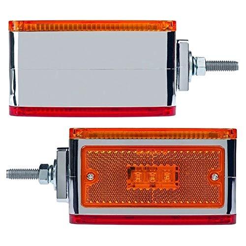 ESUHUANG Coche Trasero 2pc Ámbar/Rojo 39 llevó la Cara del Doble del Perno de Montaje del Pedestal Fender Stop Girar a la Cola de luz LED de Las Luces marcadoras