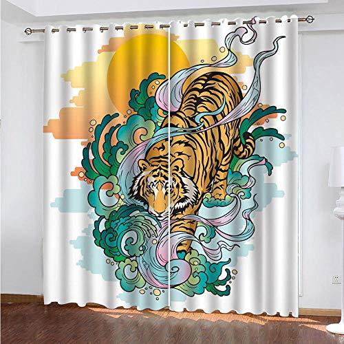 MPHWCL Cortinas Dormitorio Juvenil Cortinas Opacas Tótem de Tigre Animal 3D Impresión Digital Cortinas con Ojales Salón Modernos Térmicas Aislantes 200 x 160 cm para habitación Infantil decoración