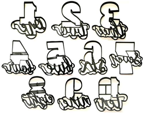 NUMBER WITH WORDS LETTERED 1 ONE THROUGH 10 TEN PLAQUES WORD NUMBERS PARTY BIRTHDAY CELEBRATION SET OF 10 SPECIAL OCCASION COOKIE CUTTERS BAKING TOOL 3D PRINTED MADE IN USA PR1157