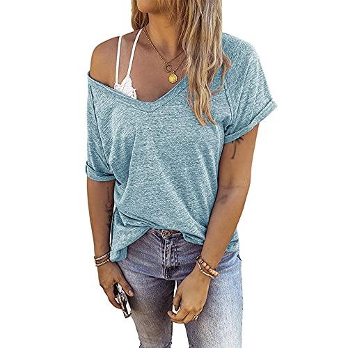 Camiseta Estampada Informal de algodón de Color de Manga Corta con Cuello en V y Espalda Abierta para Mujer de Primavera y Verano