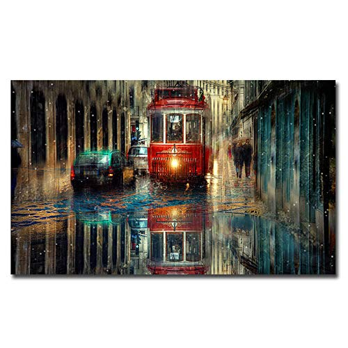 kldfig Moderne decoratie Nordic regen en bus posters en afdrukken canvas poster muurkunst canvas schilderij kunst druk schilderijen - 60x80 cm zonder lijst