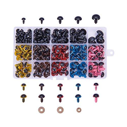 PandaHall Elite Lot de 214 yeux de poupée en plastique 5 tailles 6 couleurs, yeux de sécurité colorés et yeux de sécurité noirs avec rondelles 8, 10, 12, 14, 16 mm