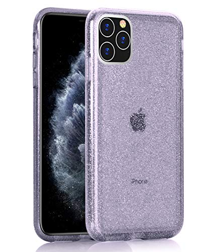 BAISRKE Clear Glitter Case for iPhone 11 Pro Max, Hybrid Heavy Duty Protection Case Hard Plastic & Soft TPU Sturdy Shockproof Armor High Impact Resistant Cover for iPhone 11 Pro Max [Lavender]