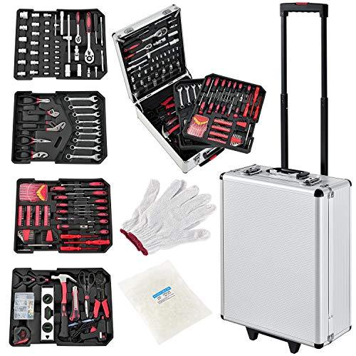 Juskys Werkzeugkoffer gefüllt Set 1001-teilig – Werkzeug-Trolley fahrbar mit Rollen und Teleskopgriff – Aluminium Werkzeugkasten Werkzeugkiste silber