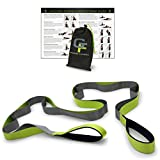 """Gradient Fitness Stretching Strap, Premium Quality Multi-Loop Strap, Neoprene Padded Handles, 12 Loops, 1.5"""" W x 8' L (Green/Grey) by Gradient Fitness"""