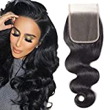 YYONG Swiss Lace Closure Human Hair Free Part 4X4 Brazilian Body Wave Closure 100% Unprocessed Human Virgin Hair Weave Lace closures Natural Color 16 Inch