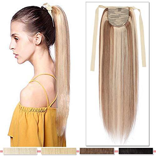 Ponytail przedłużanie włosów z prawdziwych włosów, warkocz, przedłużenie włosów, koński ogon, przedłużanie włosów 7A Remy włosy 40 cm/80 g 12P613# złoty brąz i blond
