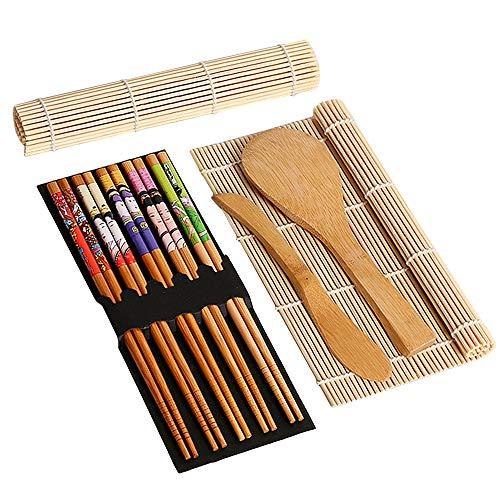 Juego de 9 piezas para hacer sushi, kit de sushi de bambú, incluye 2 alfombrillas para sushi, 5 pares de palillos, 1 paleta de arroz y 1 esparcidor de arroz para principiantes y chefs