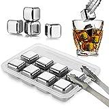 JOLIGAEA Cubitos de Hielo Reutilizable Set, 8 Piezas Whisky Piedras Acero Inoxidable, Cocteleria Mini Bar Accesorios, Enfriar Rocas de Refrigeración para Scotch Whisky, Vino, Gin, Bebidas