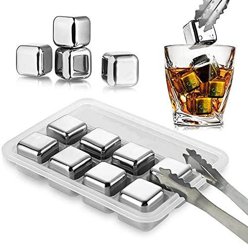 JOLIGAEA Cubitos de Hielo Reutilizable Set, 8 Piezas Whisky Piedras Acero Inoxidable,...