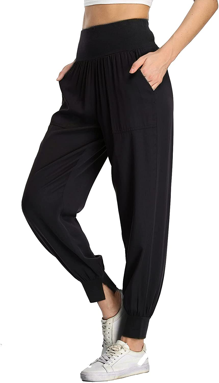 Anienaya Women's Elastic High Waist Jogger Pants Fashion Casual Jogging Sweatpants with Pockets