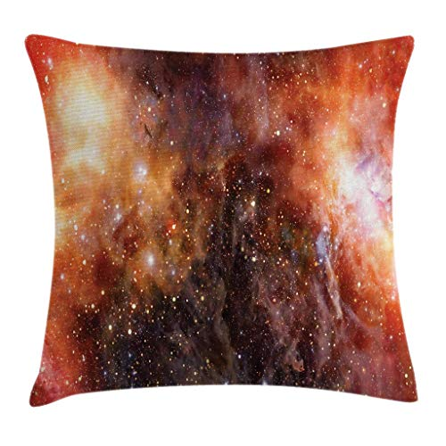 Outer Space Throw Pillow Cushion Cover, Nebula Gas Cloud in Deep Outer Space Galaxy Expanse Milky Way Print, Decorative Square Accent Pillow Case 18inch*18inch