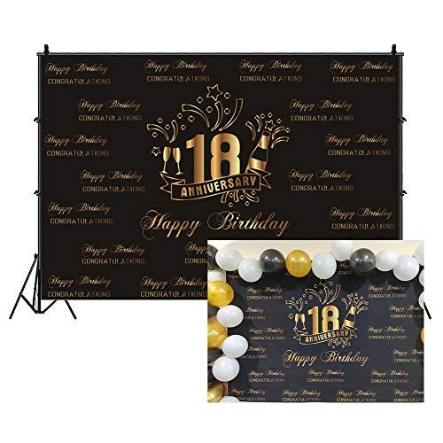 Cassisy 3x2m Vinilo Cumpleaños Telon de Fondo 18 Feliz cumpleaños Banner de...