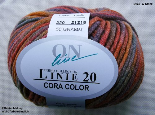 50 gr. Cora-Color Fb. 220 exotic, Brandneu, Strickwolle, Merinowolle, Online, Linie 20
