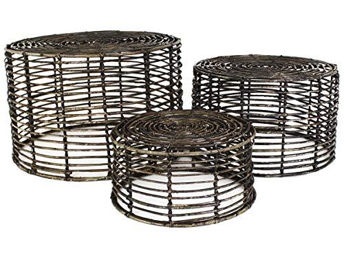 Bijzettafel - set van 3 - rotan - zwart - salontafel