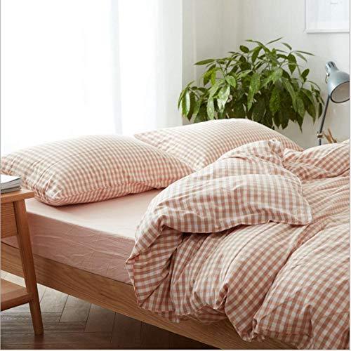 IRCATH kwaliteit dekbedovertrek - gestreept beddengoed van gewassen katoen, katoen, 4-delig, goed plaid, dicht poeder