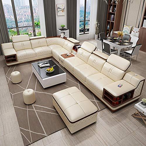 Winpavo Sofas & Sofas Sofa Corner Sofa Set Wohnzimmer Möbel Billig Leder Ecksofa Set 7-Sitzer Schnitt-Top Ledersofa A.