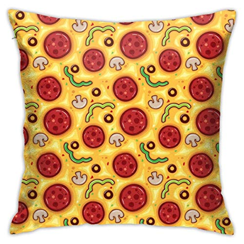 Fundas de Almohada, Fundas para Cojines de Lino Funda de Almohada Pizza de Tomate Funda Cojin Decorativa de Casa para sofá Dormitorio Coche,45x45CM