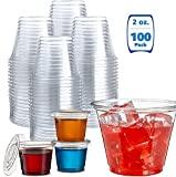 100 Pack 2 Ounce Disposable Portion Cup with Lid, Jello Shot Cups, Souffle Cups, Sampling Cups,...