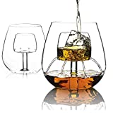 Verres à vin Vin Tumbler 18 Oz rouge Verre à vin, Verre à vin avec construit dans Aerating, Stemless Gobelets vin Aérateur, sans plomb Verre Cristal professionnel Dégustation de vin