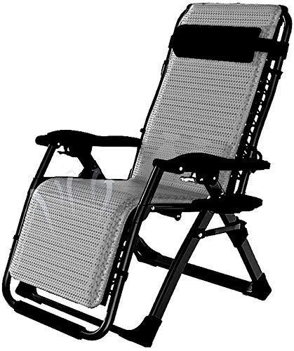 WJXBoos Tumbona reclinable reclinable de Gravedad Cero Terraza reclinable terraza de Gravedad Cero Silla de jardín con Cama portátil para Acampar al Aire Libre Prato (Color: Gris)