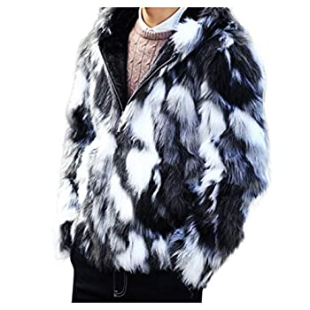 OMINA Mens Faux Fur Jackets with Hood Casual Winter Gradient Trench Coat Slim Fit Fleece Thicked Cardigan Outwear 3XL Gray