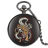 ZHAOXIANGXIANG Reloj De Bolsillo,Tigre Serpiente Patrón Entrelazado Reloj De Bolsillo De Cuarzo Cadena Hunter Animal Watch con Cadena Fob Mejores Regalos para Hombres Mujeres