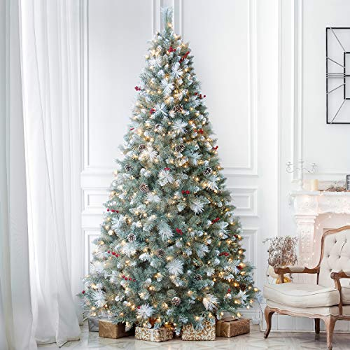 ANOTHERME 7.5ft Pre-Lit Pine Christmas Tree, 600 Warm Lights UL Certified, Pine Cones &Berries Hinged Artificial Trees Flocked Holiday Decor - Blue
