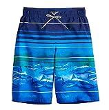ZeroXposur Boys Swim Trunks Neon Shark Beach Surfing Board Shorts (Navy, Medium 10/12)