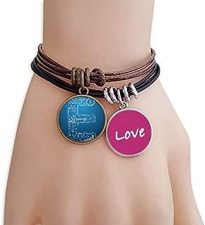Simple Work Brainstorm Data Curve Illustration Love Bracelet Leather Rope Wristband Couple Set